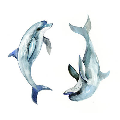 Dolphin Drawing - Dolphins by Suren Nersisyan