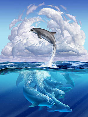 Happy Digital Art - Dolphonic Symphony by Jerry LoFaro