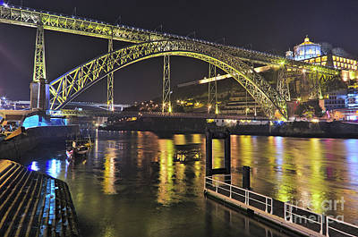 Photograph - Dom Luis I Bridge At Night In Porto by Angelo DeVal