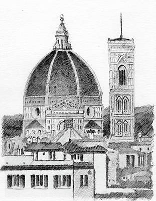 Drawing - Duomo Florence by Al Intindola