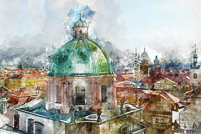 Czech Digital Art - Dome In Prague Czech Republic by Brandon Bourdages