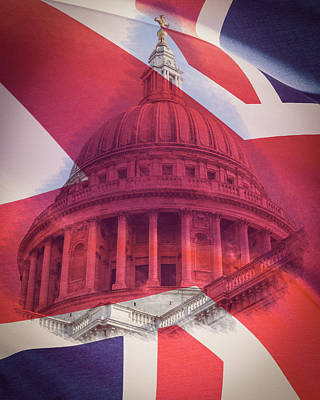 Photograph - Dome Of St Paul's Cathedral London With British Flag Union Jack by Jacek Wojnarowski