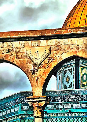 Photograph - Dome Of The Rock Clock by Munir Alawi
