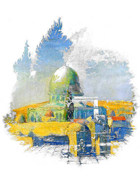 Painting - Dome Of The Rock In Colors by Munir Alawi