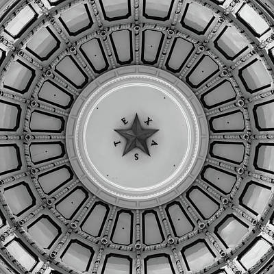 Photograph - Dome Of The Texas State Capitol - Austin - Black And White by Gregory Ballos