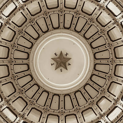 Photograph - Dome Of The Texas State Capitol - Austin - Sepia by Gregory Ballos