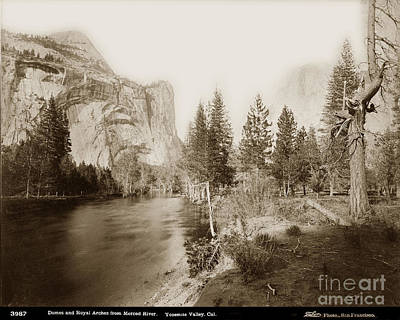 Photograph - Domes And Royal Arches From Merced River Yosemite Valley Calif.  Circa 1885 by California Views Mr Pat Hathaway Archives