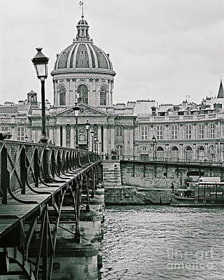 Photograph - Domes Of Paris Pont Des Arts Bridge Paris France Inverted Glass Pyramid Fine Art Photograph Black An by Tim Hovde
