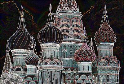 Photograph - Domes Of St. Basil Cw by Steven Liveoak