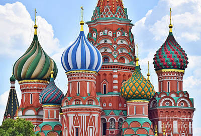 Photograph - Domes Of St. Basil by Steven Liveoak