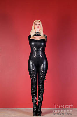 Photograph - Dominatrix Dressed In A Black Leather Catsuit by Peter Tompkins