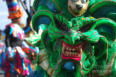 Photograph - Dominican Republic Carnival Parade Green Devil Mask by Heather Kirk