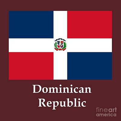 Dominican Republic Flag And Name Art Print by Frederick Holiday