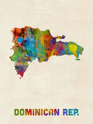 South America Digital Art - Dominican Republic Watercolor Map by Michael Tompsett