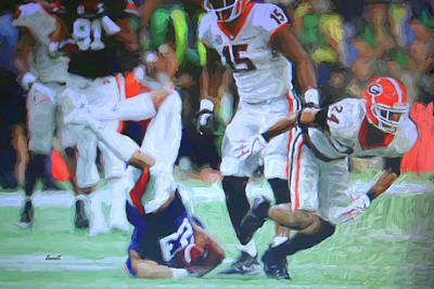 Photograph - Dominick Sanders Makes Big Hit by Dennis Baswell