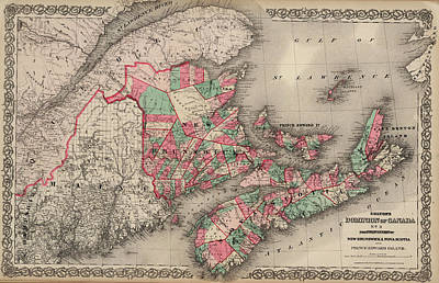 Nova Scotia Wall Art - Drawing - Dominion Of Canada. Provinces Of New Brunswick, Nova Scotia And Prince Edward Island by Colton