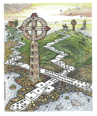 Beach Landscape Drawing - Domino Crosses by Bill Perkins