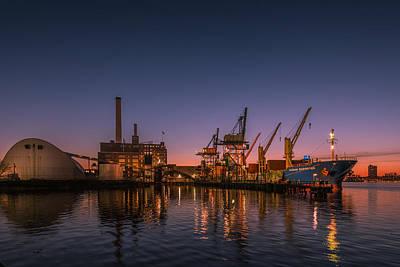 Locust Sunset Photograph - Domino Sugar by Jim Archer