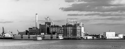 South Chesapeake City Photograph - Domino Sugars - Grayscale by Brian Wallace