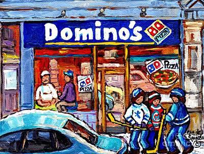 Hockey Art Painting - Domino's Pizza Montreal Storefront And Restaurant Painting Winter Hockey Scene Carole Spandau Art    by Carole Spandau