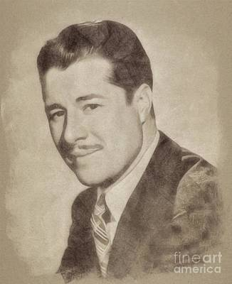 Musicians Drawings Rights Managed Images - Don Ameche, Vintage Actor by John Springfield Royalty-Free Image by Esoterica Art Agency