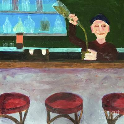 Painting - Don At Tres Gringos Bartending by Donald J Ryker III