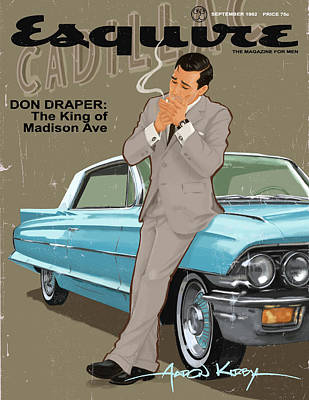 1960 Painting - Don Draper In Esquire by Aaron Kirby