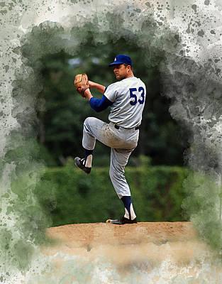 Los Angeles Dodgers Digital Art - Don Drysdale by Karl Knox Images