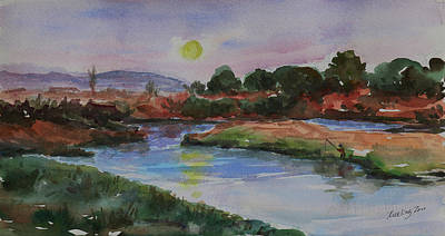 Painting - Don Edwards San Francisco Bay National Wildlife Refuge Landscape 1 by Xueling Zou