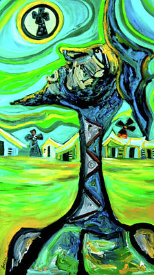 Don Quijote Painting - Don Quijote And The Moon by Julio Sanchez - Julsan