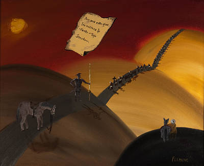 Don Quijote Painting - Don Quijote Y Los Monjes by Joshua Fleming