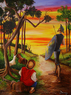Don Quijote Painting - Don Quixote And Sancho by Dominica Alcantara