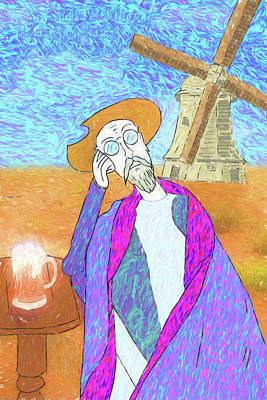 Digital Art - Don Quixote Dreams Of Vincent Van Gogh Or Vice Versa by John Haldane