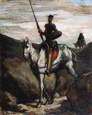 Don Quijote Painting - Don Quixote In The Mountains by Honore Daumier