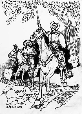 Drawing - Don Quixote by Rich Travis