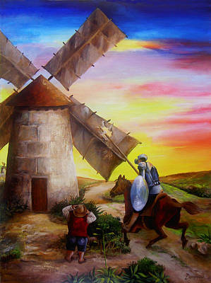 Don Quixote Painting - Don Quixote's Windmill Adventure by Dominica Alcantara