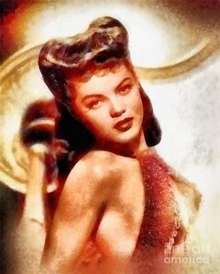 Drake Painting - Dona Drake, Vintage Hollywood Actress by Frank Falcon