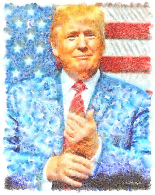 Leaders Painting - Donald Trump - Pa by Leonardo Digenio