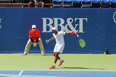 Sports Royalty-Free and Rights-Managed Images - Donald Young plays in the Winston-Salem Open. by Bryan Pollard