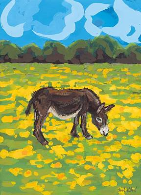 Donkey And Buttercup Field Art Print by Sarah Gillard