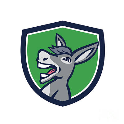 Donkey Digital Art - Donkey Head Shouting Crest Retro by Aloysius Patrimonio