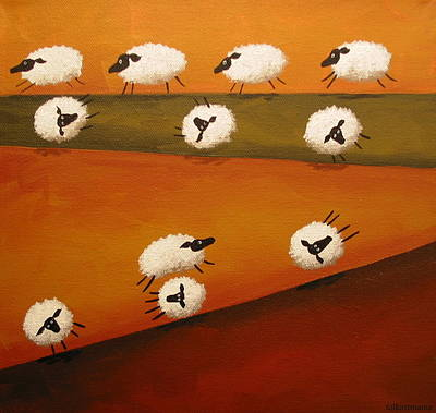 Landscape Painting - Donkey Kong Sheep - Folk Art by Debbie Criswell