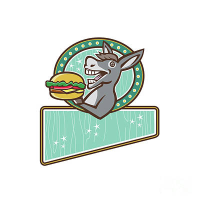 Sandwich Digital Art - Donkey Mascot Serve Burger Rectangle Oval Retro by Aloysius Patrimonio
