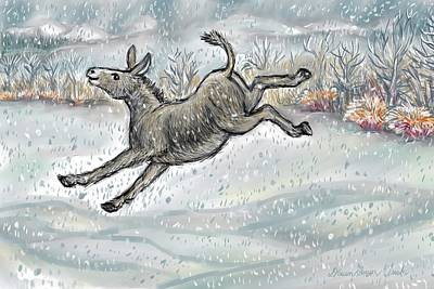 Drawing - Donkey Playing In Snow Color Version by Dawn Senior-Trask