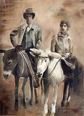 Donkey Watercolor Painting - Donkey Ride by Arline Wagner
