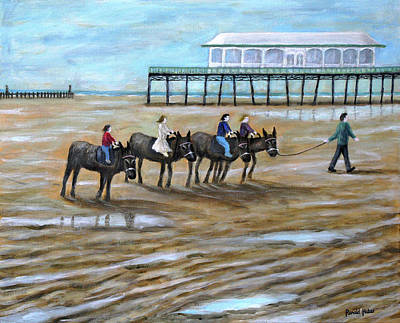 Donkey Painting - Donkey Rides On Lytham St Annes On Sea Beach by Ronald Haber