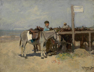 Dutch Painting - Donkey Stand On The Beach At Scheveningen by Anton Mauve