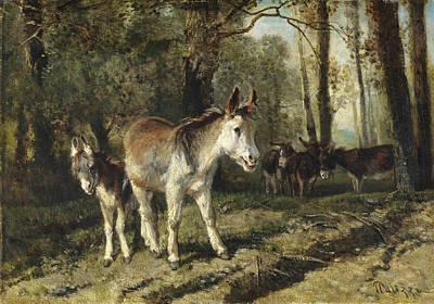 Giuseppe Palizzi Painting - Donkeys by Giuseppe Palizzi