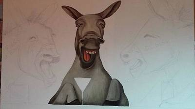 Donkeys Laughing Work In Progress Original by Leah Saulnier The Painting Maniac