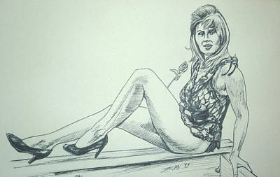 Drawing - Donna 3 by Bryan Bustard